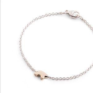 14KY Gold Bear Charm On Silver Chain Bracelet